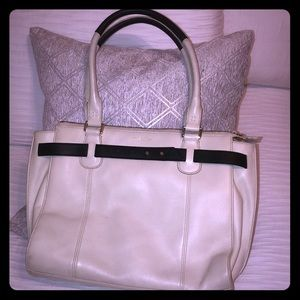 Cole Haan white leather with black trim tote